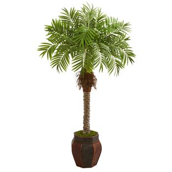 62 Robellini Palm Artificial Tree in Decorative Planter - SKU #9426