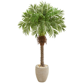 63 Robellini Palm Artificial Tree in Sandstone Planter - SKU #9427