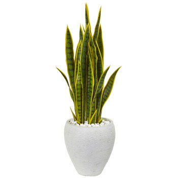 33 Sansevieria Artificial Plant in White Planter - SKU #9430