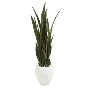 51 Sansevieria Artificial Plant in White Planter - SKU #9432