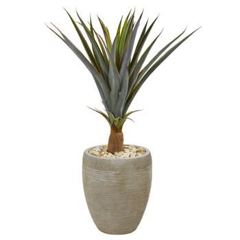 34 Agave Succulent Artificial Plant in Sandstone Planter - SKU #9435