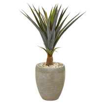 34 Agave Succulent Artificial Plant in Sandstone Planter - SKU #9435
