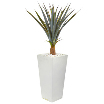 41 Agave Succulent Artificial Plant in White Tower Planter - SKU #9436