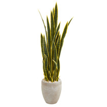 52 Sansevieria Artificial Plant in Sand Colored Planter - SKU #9439