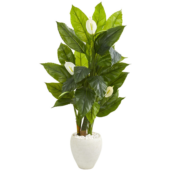5 Spathyfillum Artificial Plant in White Planter Real Touch - SKU #9441