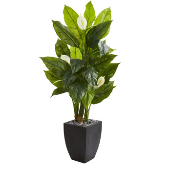 63 Spathyfillum Artificial Plant in Black Planter Real Touch - SKU #9442