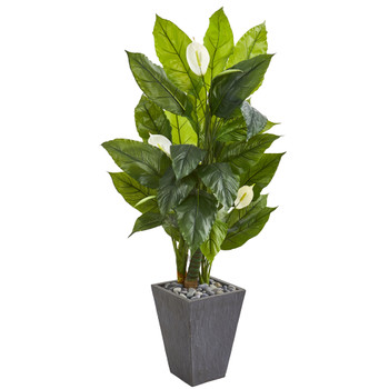 63 Spathyfillum Artificial Plant in Slate Planter Real Touch - SKU #9443