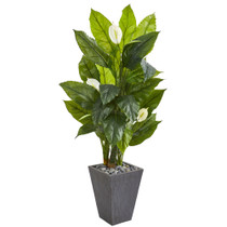 63Spathyfillum Artificial Plant in SlatePlanter RealTouch - SKU #9443