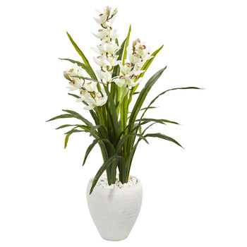 4 Cymbidium Orchid Artificial Plant in White Planter - SKU #9444