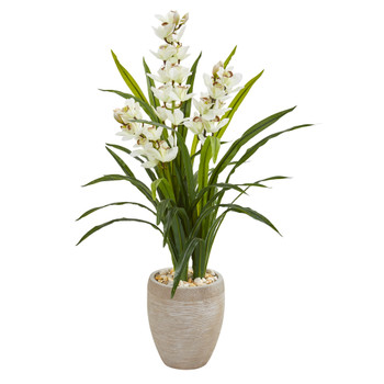 4 Cymbidium Orchid Artificial Plant in Sandstone Planter - SKU #9445