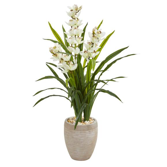 4 Cymbidium Orchid Artificial Plant in Sandstone Planter - SKU #9445
