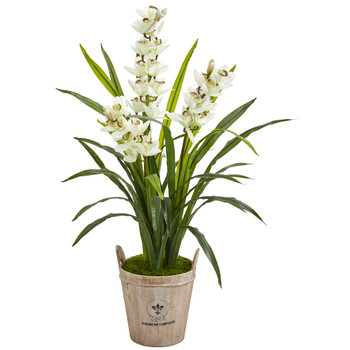 47 Cymbidium Orchid Artificial Plant in Farmhouse Planter - SKU #9446