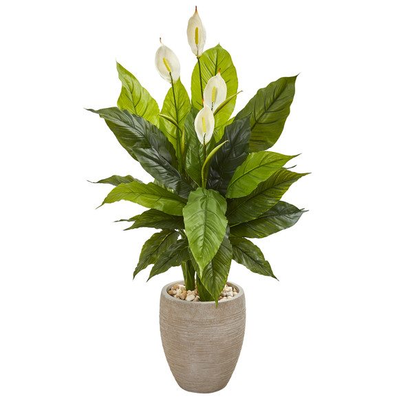 47 Spathiphyllum Artificial Plant in Sand Colored Planter Real Touch - SKU #9447