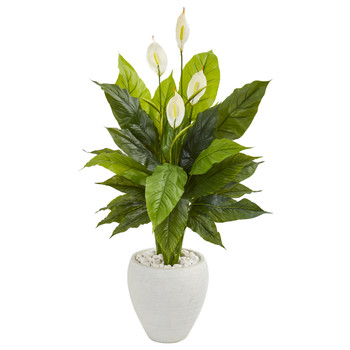 49 Spathiphyllum Artificial Plant in White Planter Real Touch - SKU #9448