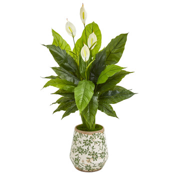 49 Spathiphyllum Artificial Plant in Decorative Planter Real Touch - SKU #9449