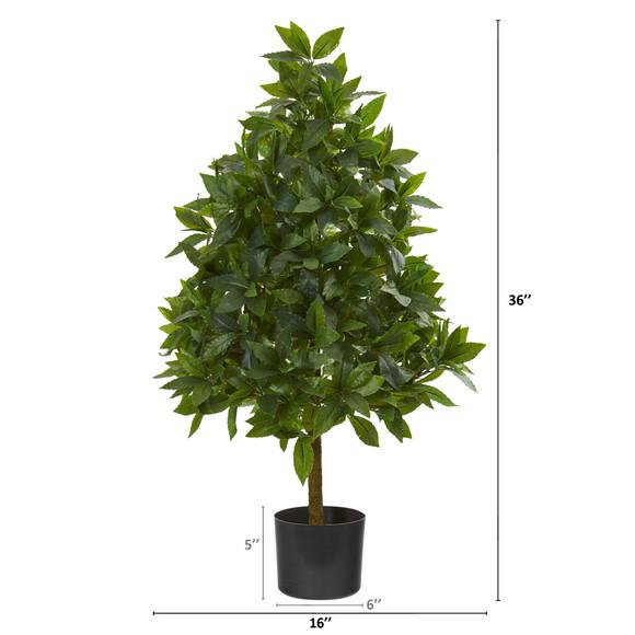 3 Sweet Bay Cone Topiary Artificial Tree - SKU #9455 - 1