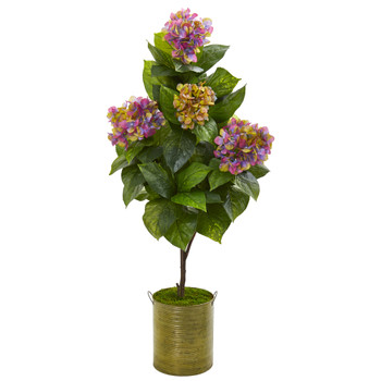 51 Hydrangea Artificial Plant in Metal Planter - SKU #9456