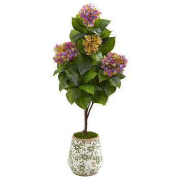 50 Hydrangea Artificial Plant in Decorative Planter - SKU #9457