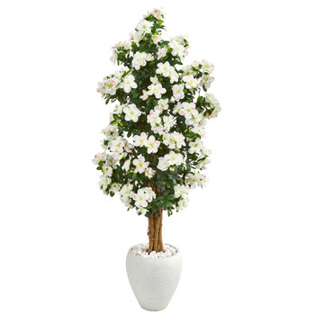 5 Azalea Artificial Tree in White Planter - SKU #9460
