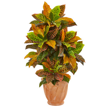 40 Croton Artificial Plant in Terra Cotta Planter Real Touch - SKU #9462