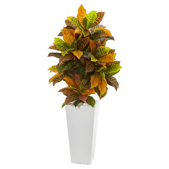 51 Croton Artificial Plant in White Tower Planter Real Touch - SKU #9463