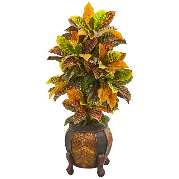 44 Croton Artificial Plant in Decorative PlanterReal Touch - SKU #9464