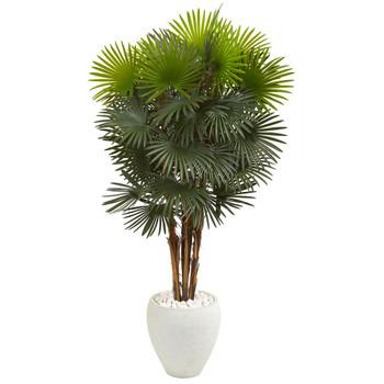 57 Fan Palm Artificial Tree in White Planter - SKU #9465