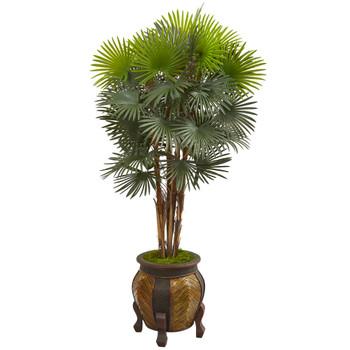 5 Fan Palm Artificial Tree in Decorative Planter - SKU #9466
