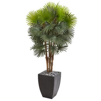 59 Fan Palm Artificial Tree in Black Planter - SKU #9467