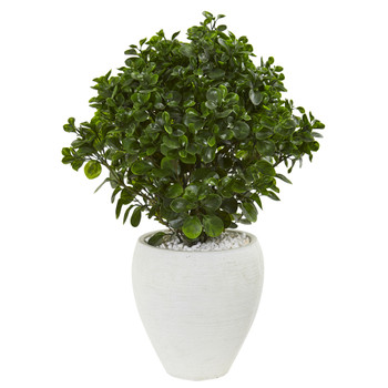 32 Peperomia Artificial Plant in White Planter UV Resistant Indoor/Outdoor - SKU #9468