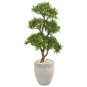 43 Bonsai Styled Podocarpus Artificial Tree in Sandstone Planter - SKU #9471