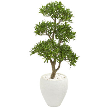 43 Bonsai Styled Podocarpus Artificial Tree in White Planter - SKU #9472