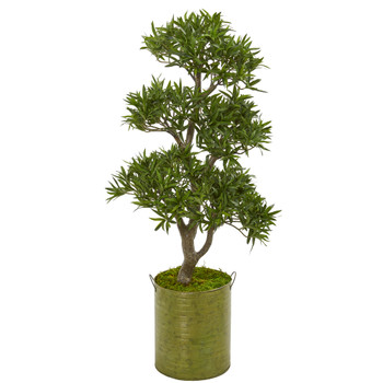 41 Bonsai Styled Podocarpus Artificial Tree in Metal Planter - SKU #9473