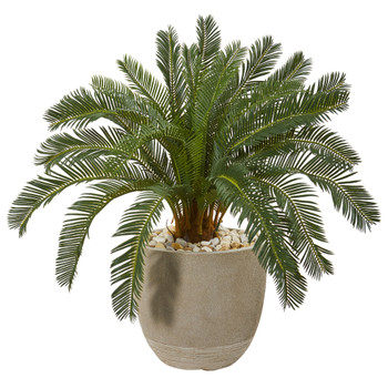 29 Cycas Artificial Plant in Sand Stone Planter - SKU #9476