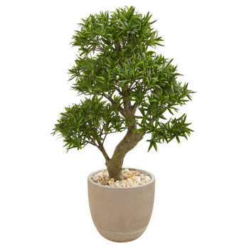 40 Podocarpus Artificial Bonsai Tree in Sandstone Planter - SKU #9477