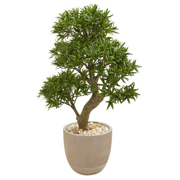 40 Podocarpus Artificial Bonsai Tree in Sandstone Planter - SKU #9477