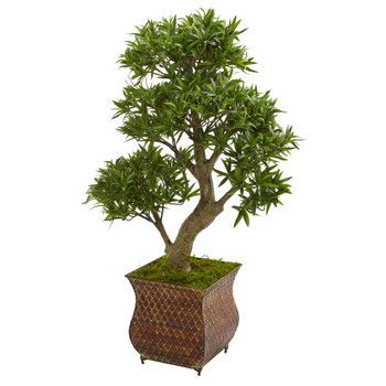 40 Podocarpus Artificial Bonsai Tree in Metal Planter - SKU #9478