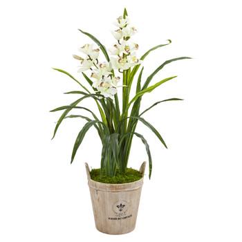 3.5 Cymbidium Orchid Artificial Plant in farmhouse Planter - SKU #9479