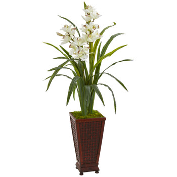 49 Cymbidium Orchid Artificial Plant in Decorative Planter - SKU #9480
