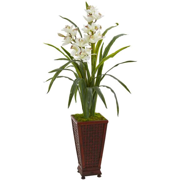 49 Cymbidium Orchid Artificial Plant in Decorative Planter - SKU #9480