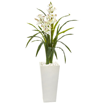 50 Cymbidium Orchid Artificial Plant in White Tower Planter - SKU #9481