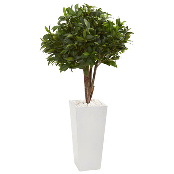 49 Bay Leaf Topiary Artificial Tree in White Tower Planter - SKU #9482
