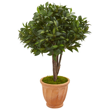 39 Bay Leaf Topiary Artificial Tree in Terra Cotta Planter - SKU #9483