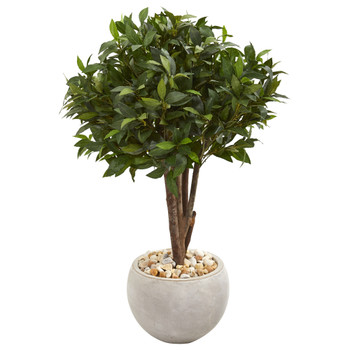 38 Bay Leaf Topiary Artificial Tree in Sand Colored Planter - SKU #9484