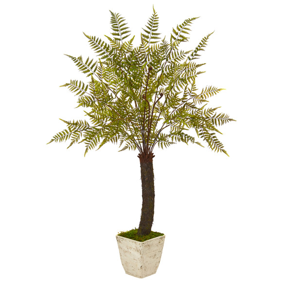 74 Fern Artificial Plant in White Planter - SKU #9485