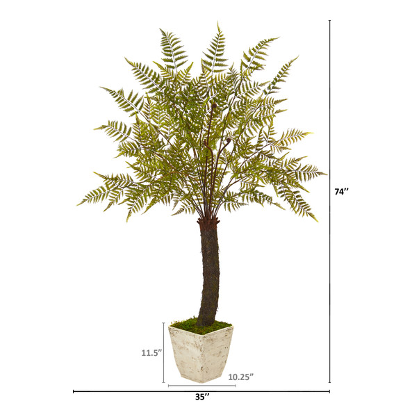 74 Fern Artificial Plant in White Planter - SKU #9485 - 1