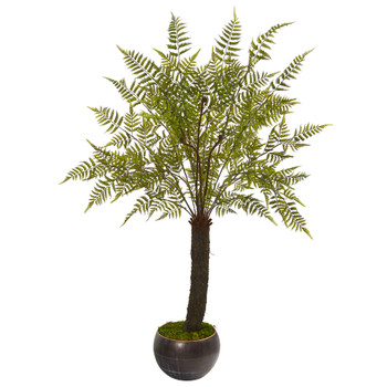 6 Fern Artificial Plant in Decorative Bowl Planter - SKU #9486