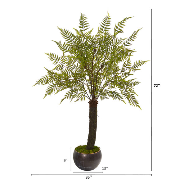 6 Fern Artificial Plant in Decorative Bowl Planter - SKU #9486 - 1