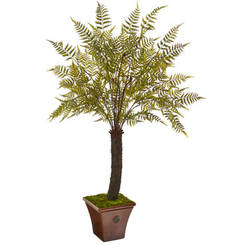 6 Fern Artificial Plant in Brown Planter - SKU #9487