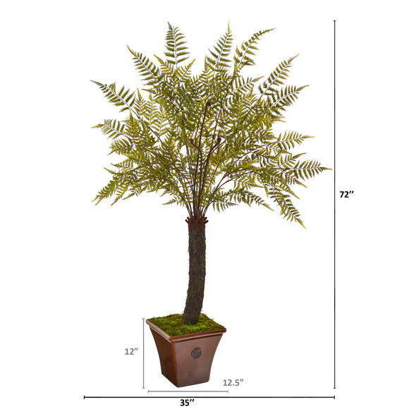 6 Fern Artificial Plant in Brown Planter - SKU #9487 - 1